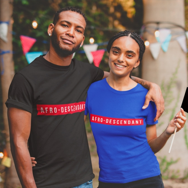 T-shirt Afro-Descendant-couple-noir
